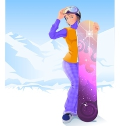 Girl and snowboarding Winter sport vector
