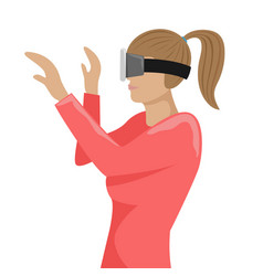 girl with virtual reality glasses vector image