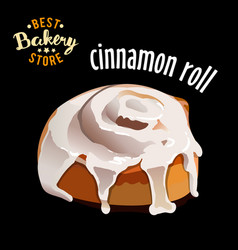 Glazed cinnamon roll isolated on black background vector