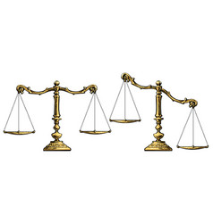 gold scales balanced and unbalansed vector image
