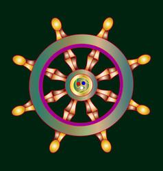 golden dharma wheel buddhism vector image