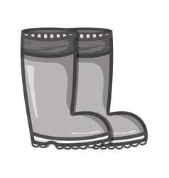Grayscale rubber boots object to protection feet vector