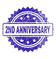 Grunge 2nd anniversary stamp seal vector