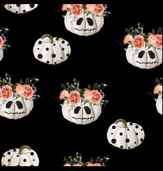halloween pattern with skary pumpkin and roses vector image