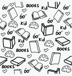 hand drawn books doodles seamless pattern vector image