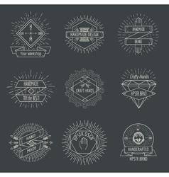 Handmade logo or crafts emblems vintage set vector image