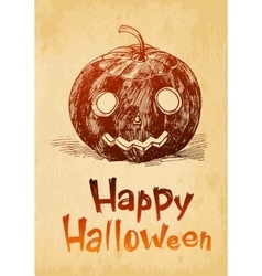 Happy Halloween pumpkin Jack O Lantern drawn in a vector image