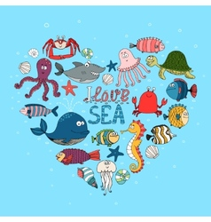 I Love Sea nautical themed design vector image