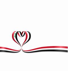 iraqi flag heart-shaped ribbon vector image
