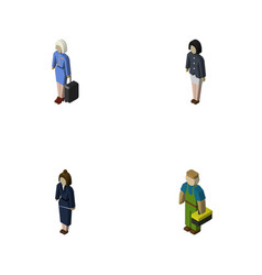 isometric people set of businesswoman girl vector image