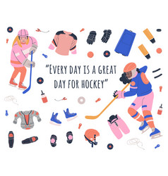 Kids girls hockey players and motivation text vector