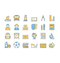 linear color icon set 5 - school education vector image