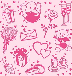 Love patterns set vector image