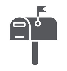 Mailbox glyph icon post and address pobox sign vector