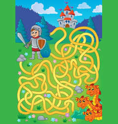 Maze 1 with knight and dragon theme vector