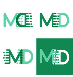 Md letters logo with accent speed in light green vector