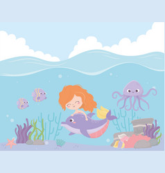 mermaid with dolphin octopus fishes coral cartoon vector image