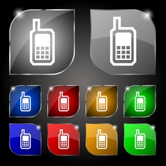 Mobile phone icon sign Set of ten colorful buttons vector image