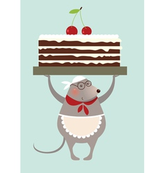 Mouse cook and cake vector