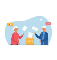 old people voting online vector image