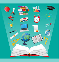 Opened book and education items vector