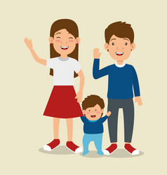 Parents with son avatars characters vector