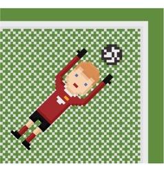pixel art football soccer goalkeeper in red vector image