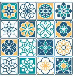 Portuguese tiles pattern - azulejo seamless vector