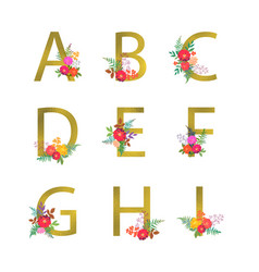 poster with golden letters a b c d e f g h vector image