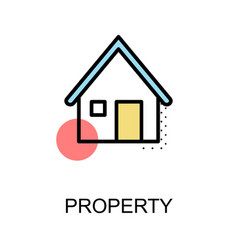 property icon and home symbol on white background vector image
