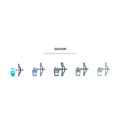 Quiver icon in different style two colored and vector