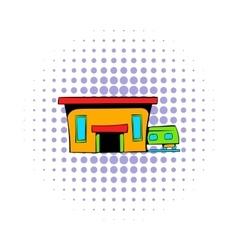 Railway station icon comics style vector
