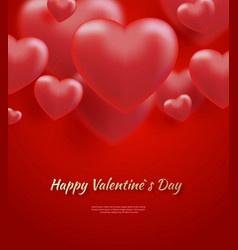 red valentine s day background with 3d hearts on vector image