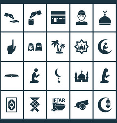 Religion icons set with mushaf crescent bomb and vector