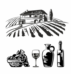 Rural landscape with villa vineyard fields hills vector