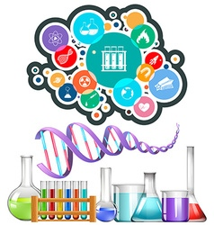 Science equipment and icons vector image