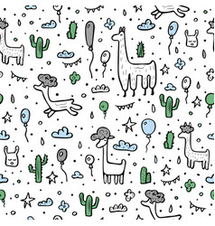 seamless pattern of lama composition vector image