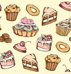 seamless pattern with candies and cakes vector image