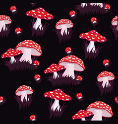seamless pattern with fly agaric print for fabric vector image