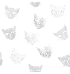 Seamless pattern with stamps of cats vector