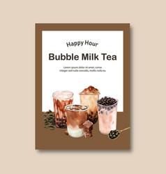 Set bubble milk tea poster ad flyer template vector