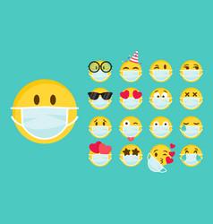 Set emoji with a medical mask on face vector