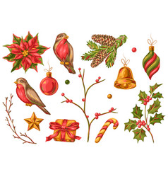 set merry christmas objects vector image