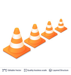 set of 3d traffic cones isolated on white vector image