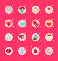 set valentines day icons presents boxes vector image