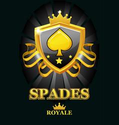 spades royale in black shield casino vector image