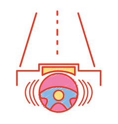 Steering wheel futuristic car in the road vector