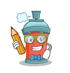 Student with pencil aerosol spray can character vector