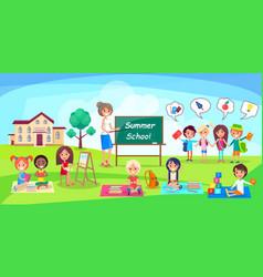 summer school poster depicing kids and teacher vector image