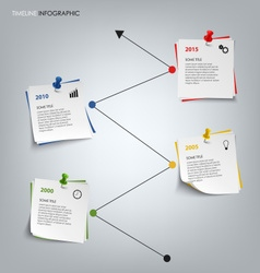Time line info graphic with colored note paper vector image
